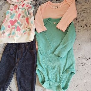Carter's Matching Sets - Carter's. Girls 4pc Longsleeve Outfit Bundle